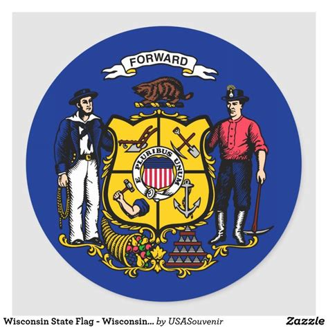 Wisconsin State Flag - Wisconsin State Motto Classic Round