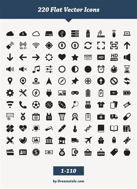 Free Download: 220 Flat Vector Icons - Dreamstale