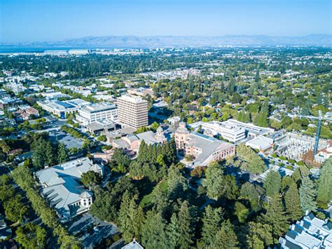 Aerial View Of Downtown Mountain View In California Stock