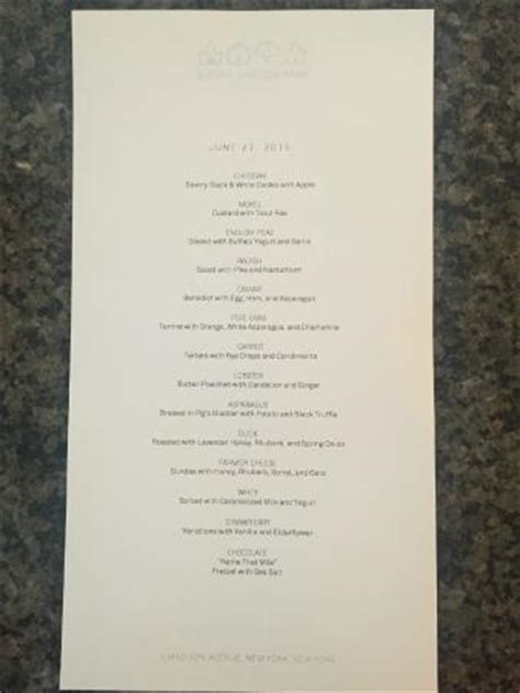 Menu, served at last - Picture of Eleven Madison Park, New