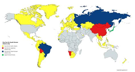 Visa Requirements for Japanese/South Korean citizens : MapPorn