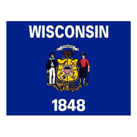 Wisconsin State Flag - Wisconsin State Motto Postcard