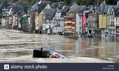 View over Mosel river flooding Cochem, Germany, 09 January