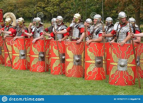 Roman Soldiers Re-enactment Group In England Editorial